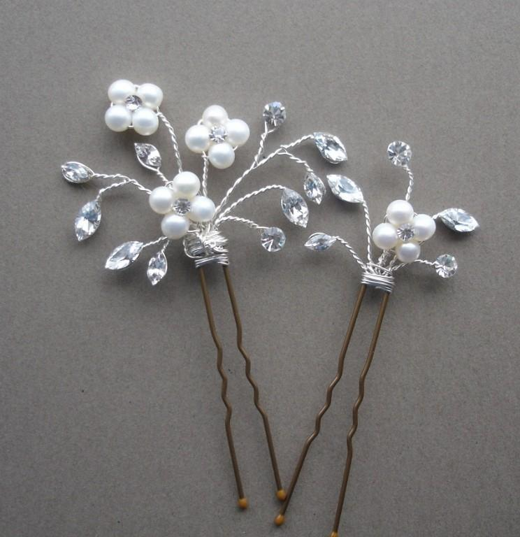 Свадьба - Bridal Hairpins, Freshwater Pearl And Crystal Hairpins, Set of Two (2)