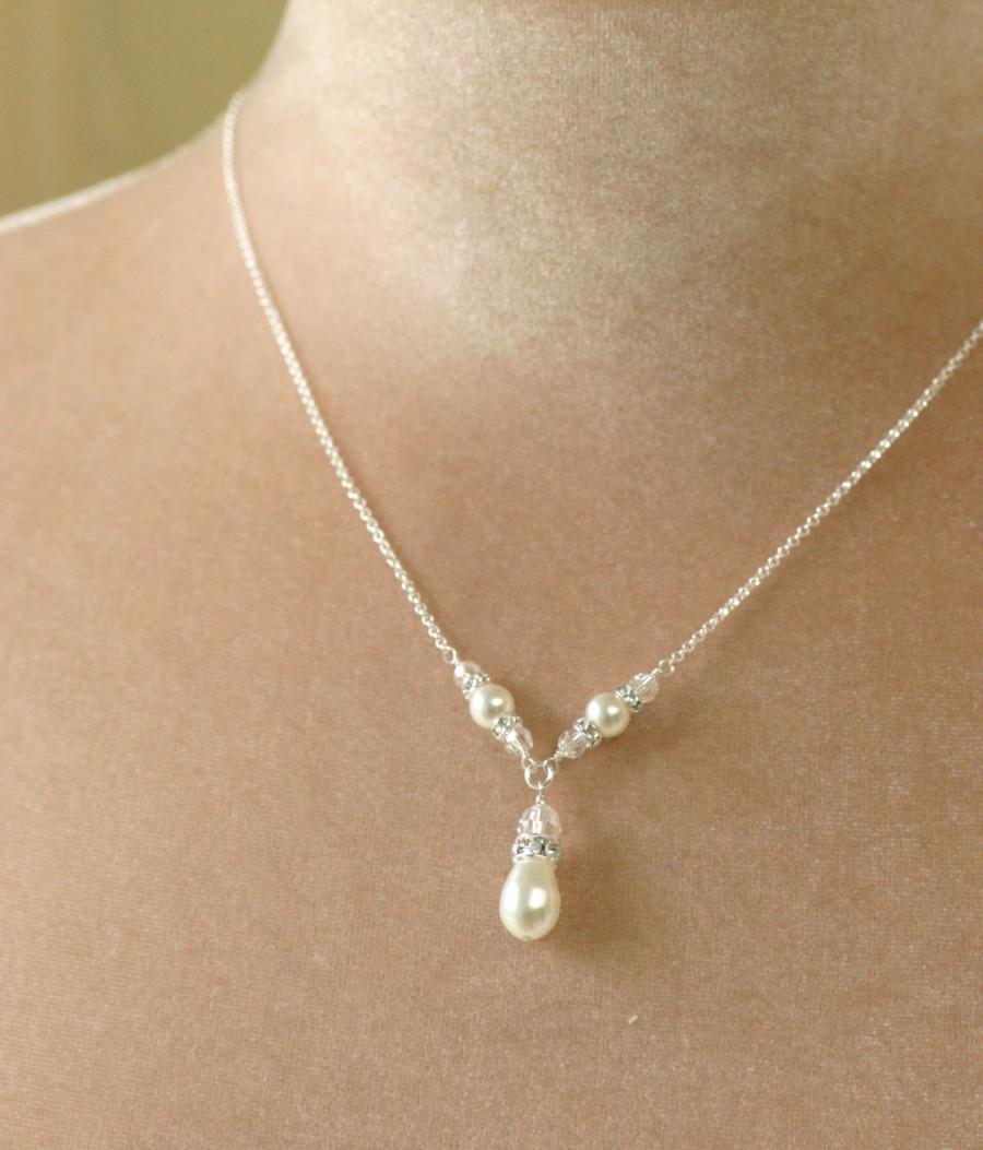 زفاف - Pearl bridesmaid necklace, pearl necklace, pearl drop necklace, Swarovski wedding necklace - Vi