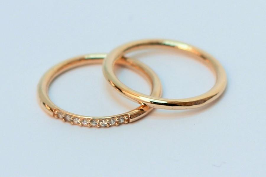 Gold Wedding Band Set Men Woman Price For 2 Rings