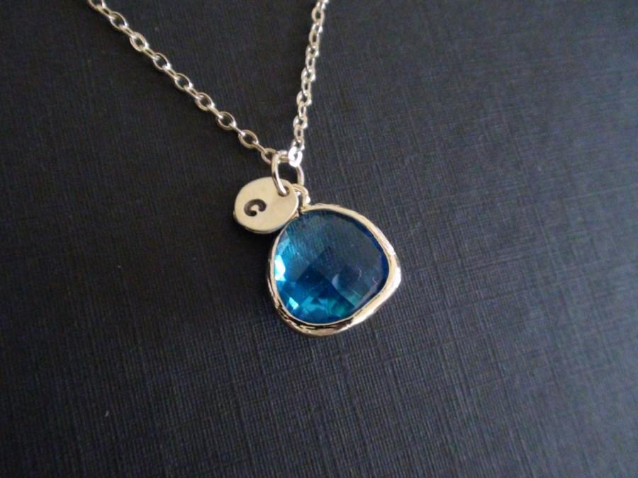 Mariage - SALE-Personalized, Birthstone Necklace, Wedding Gift, Bridesmaids Gift, Flower Girl Gift,Capri Blue Bezel,Initial,Statement,Pendant Necklace