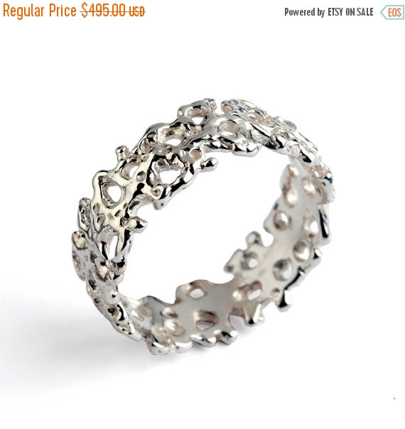 Christmas SALE - CORAL 14k White Gold Wedding Band, Unique Wedding ...