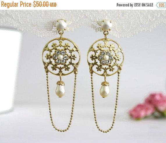 Hochzeit - 25% SALE Long bridal earrings, Bridal dangle earrings, Dangle bridal earrings, Gold bridal earrings, Chandelier bridal earrings