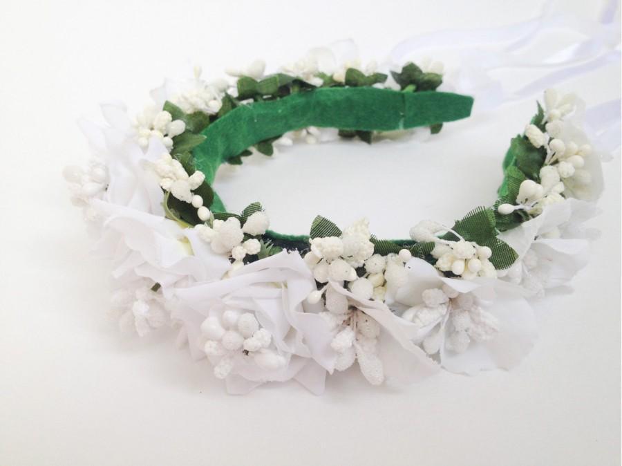 Bride floral headband White rose flower crown Flower hair wreath for  wedding Bridal floral headband Bridesmaid flower crown Woman hair crown a34ab07079f