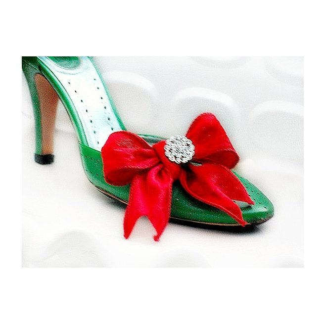 Mariage - Red Velvet Bow Sparkly Crystals Shoe Clips Set. Bride Bridal Bridesmaid Big Day, Stylish Couture Chic Shoes, Classy Classic Fun Fashionista