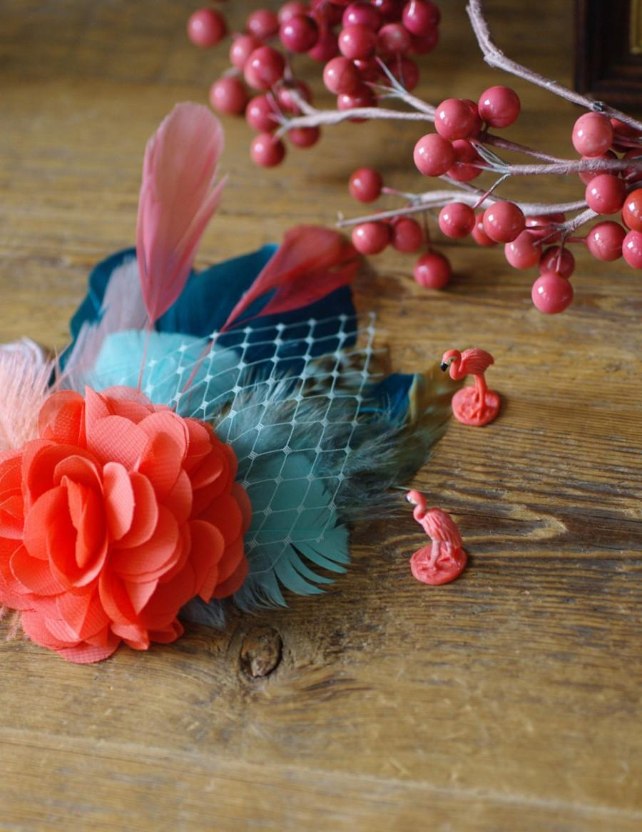 Mariage - comes love fascinator Jazzafines bestseller headpiece available in many different colors  aqua teal coraille millinery hairflower vintage