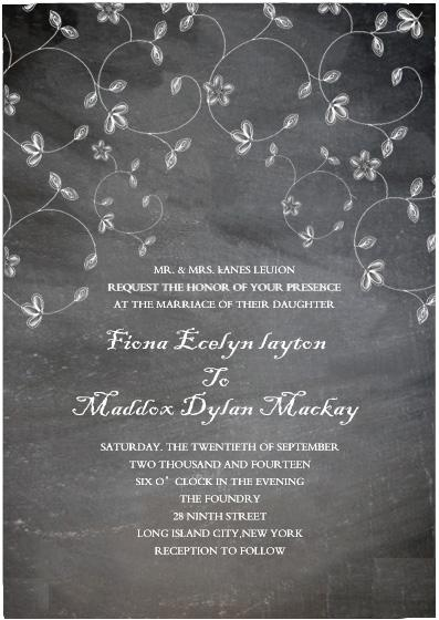 Wedding - BLACK SWIRL CHALKBOARD CHEAP WEDDING INVITATIONS HPI023