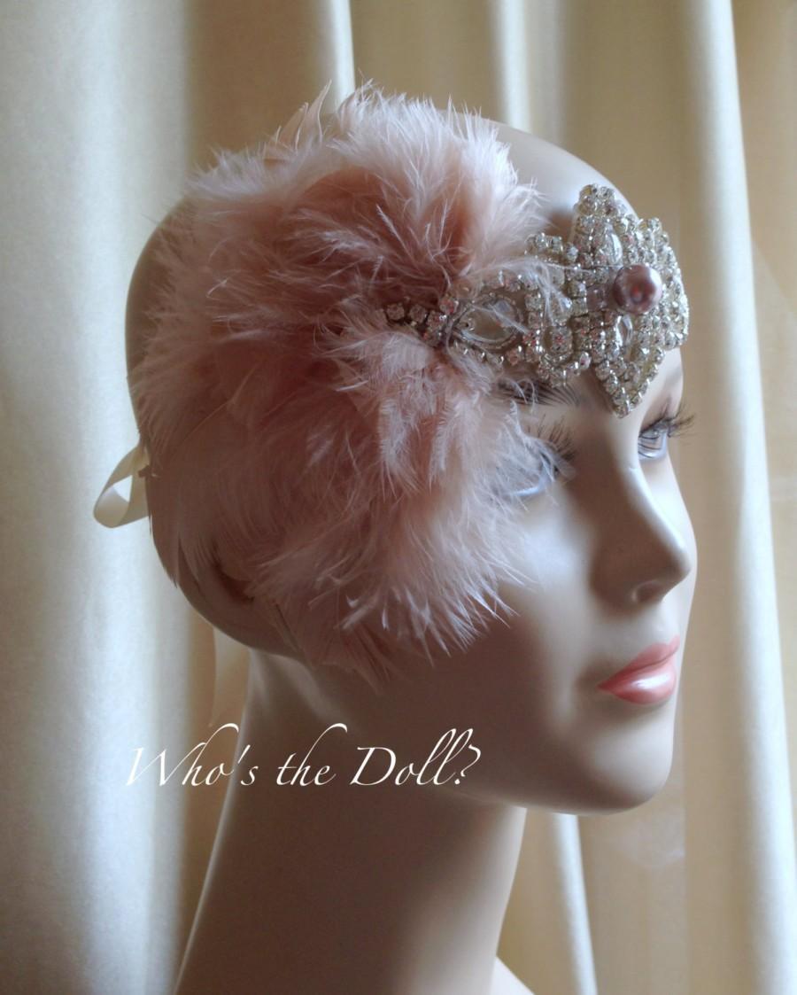 Mariage - 1920s headpiece/Flapper headpiece/bridal headpiece/Art Deco style headpiece/Great Gatsby style headpiece/Rhinestone/Champagne