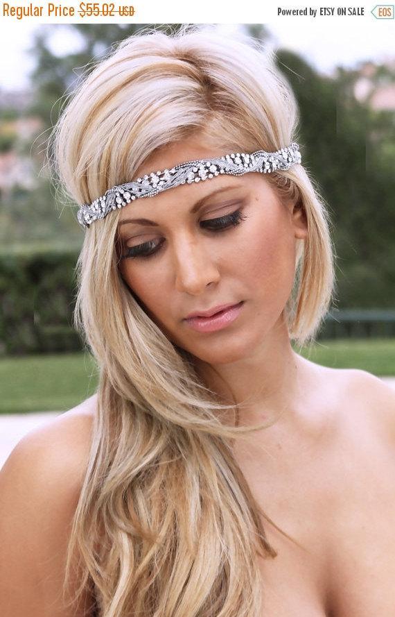 Hochzeit - OOAK Swarovski rhinestones, braided, twisted, Crystal headband, bridal headband, bridal necklace, Bridal headpiece, crystal headpiece