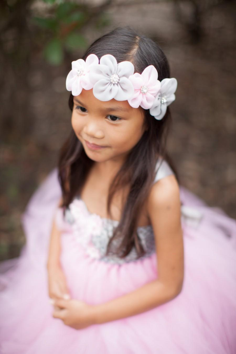 Mariage - Flower Girl Headband, Pink Grey Headband, Pink Gray Flower Girl, Spring Wedding, Newborn Photo Prop, Newborn Headband, Baby Shower Gift