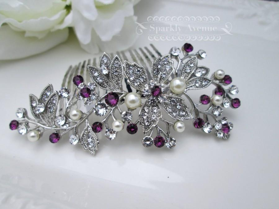Mariage - Bridal Hair Comb Purple Hair Comb Flower Hair Piece Amethyst Swarovski Crystal Bridal Hair Piece Wedding Hair Accessory Leaf Bridal Clip Mia