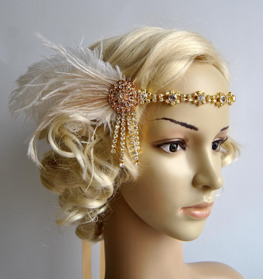 Mariage - Gold Rhinestone Headband headpiece with feathers,Great Gatsby Headband,Wedding flapper headband,1920s Bridal rhinestone hair piece, prom