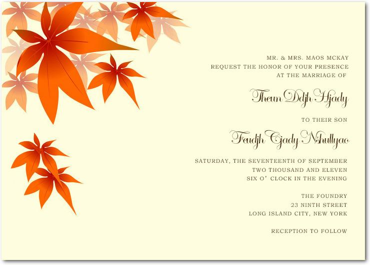 Cheap Red Maple Leaves Wedding Invitations Cards Hpi040