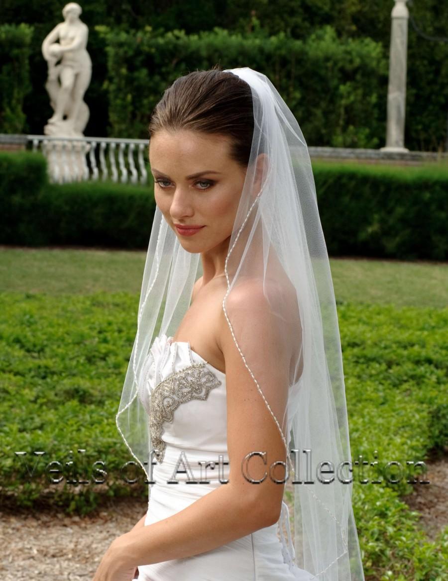 Hochzeit - Designer One Tier Embroided Bridal Wedding Veil Fingertip Style VE315 NEW CUSTOM VEIL