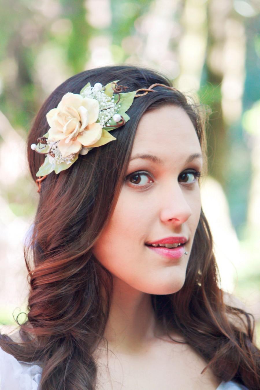 Wedding - bridal crown, bridal head piece, wedding head piece,  natuaral hair crown, natural pine cone rose floral hair crown 'Take my breath away'