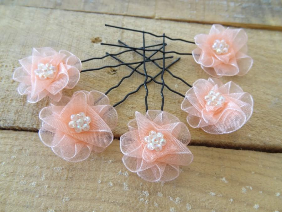 Mariage - Orange Flower Wedding Hair Pins,Orange Bridal Hair Pins, Hair Accessories, Organza Hair Pins, Bridesmaid Hair, Woodland - Set of 5