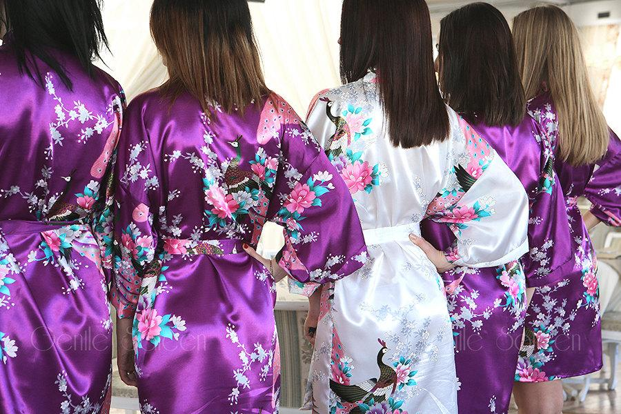 Wedding - Set of 7 Bridesmaid Satin Robes, Kimono Robe, Fast Shipping from New York, Regular and Plus Size Robe