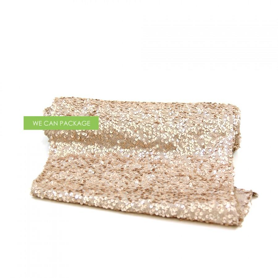 """Mariage - CHAMPAGNE Sequin Table Runner 12"""" x 96"""""""