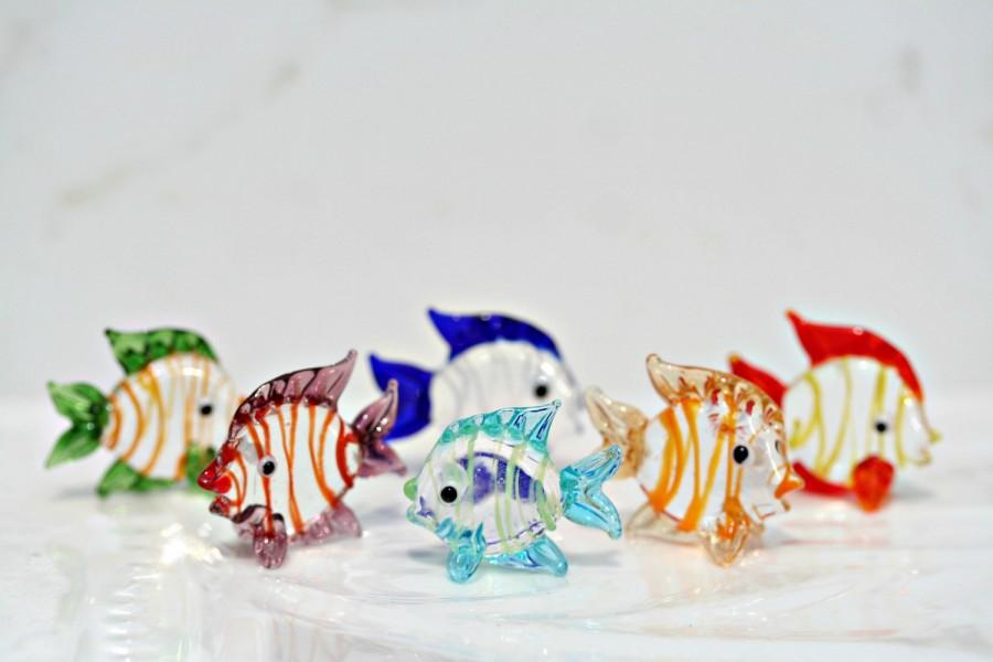 Wedding - Glass Fish Set Of 6 Fish Figurines Fish Tank Decor Mini Fish Vase Filler Tiny Fish Glass Fish Set Beach Wedding Decor Hand Blown Glass Fish