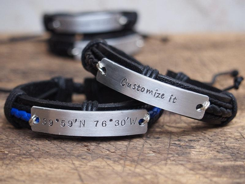 personalized men s bracelet personalized men s coordinates bracelet