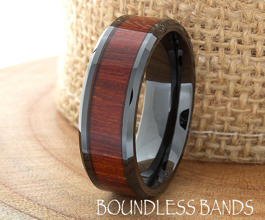Wood Ceramic Wedding Band Black Wood Wedding Ring 8mm Mens Womens