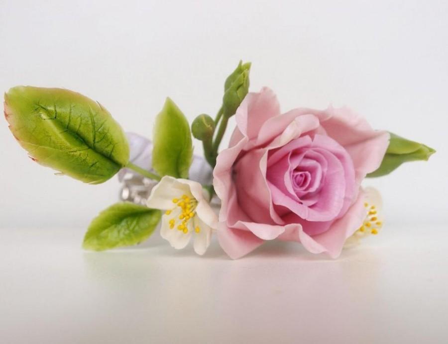 Wedding - Pink Flower Rose Hair Clip