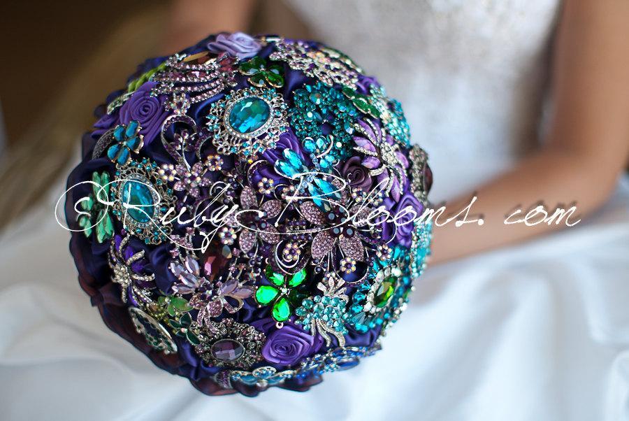 Purple Green Blue Peacock Wedding Broach Bouquet Jewels Of Regency Bridal