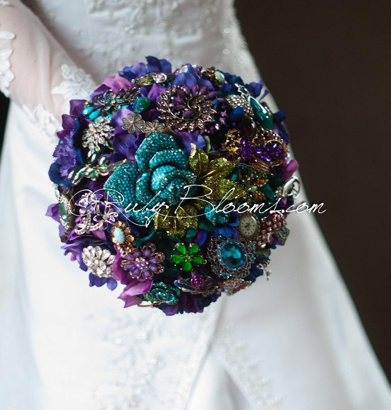 Peacock Wedding Brooch Bouquet Alice In Wonderland Crystal Purple Green Blue Bridal Amethyst Emerald