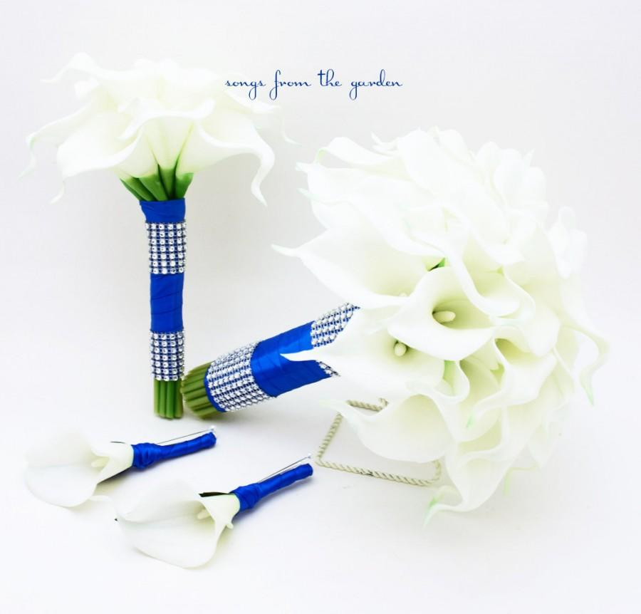 Wedding Flowers Real Touch Calla Lily Bridal Bridesmaid Bouquets White Lilies Royal Blue Ribbon