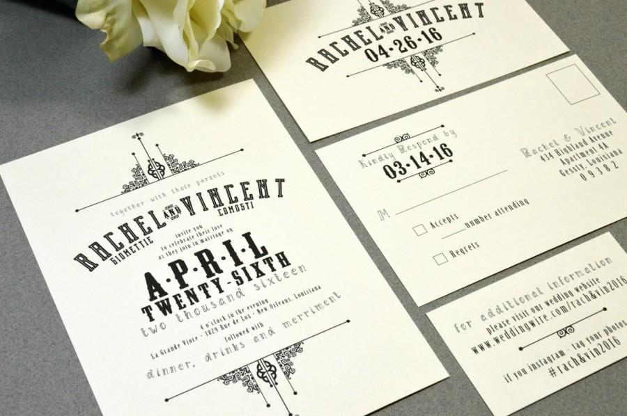 Свадьба - French Victorian Wedding Invitations Ivory and Black Pocket Invitation Vintage Wedding Invitation Suite Rustic Wedding Invite Set RunkPock