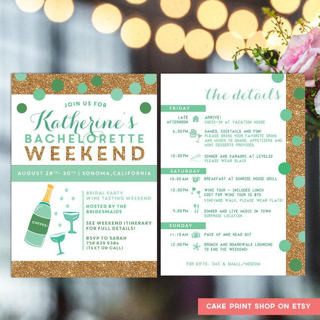 Bachelorette Printable Itinerary, Bachelorette Invite With Itinerary, Mint And Gold Bachelorette ...