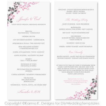 wedding program template instant download exquisite vines pink