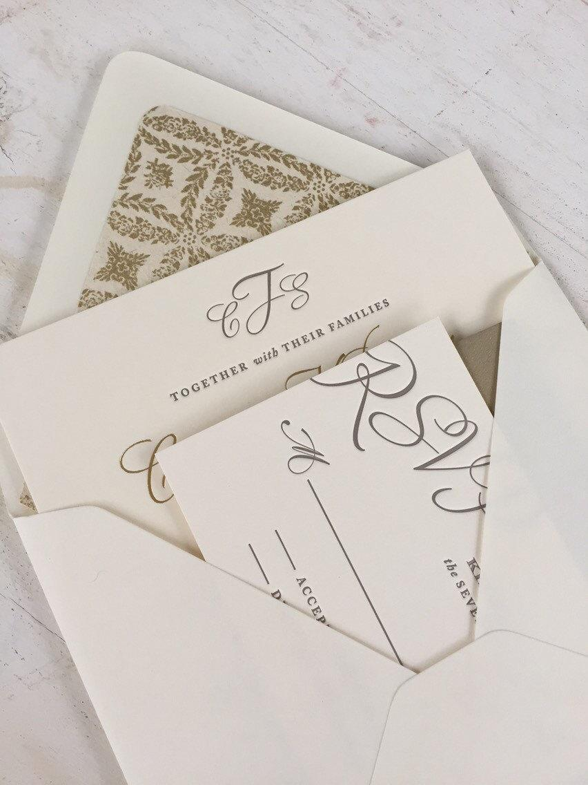 Hochzeit - Elegant Script Wedding Invitation  Suite // Timeless Simple Invite // Purchase this Deposit to Get Started