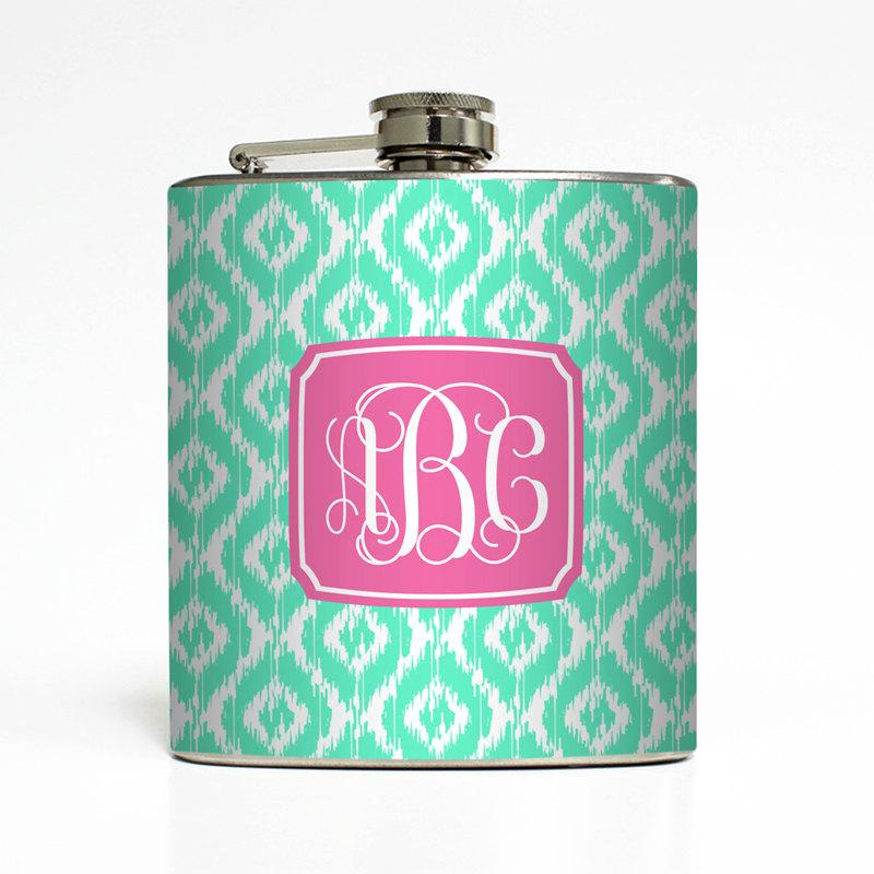Hochzeit - Custom Flask Personalized Color Ikat Vine Monogram 21st Birthday Sorority Big Little Gifts Stainless Steel 6 oz Liquor Hip Flask LC-1173