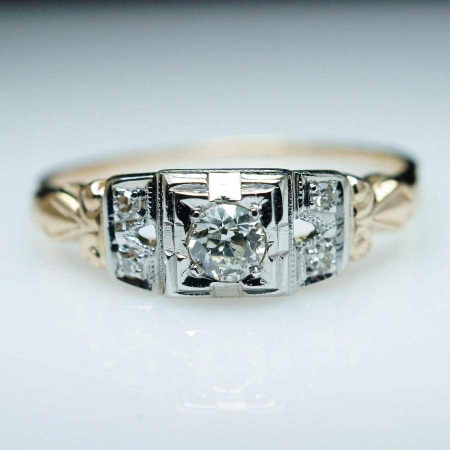 Old european cut elegant diamond solitaire ring in platinum and 18k - Sale Antique Late Edwardian 18ct Old European Cut Diamond Ring 14k Yellow 18k White Gold Size 7 5