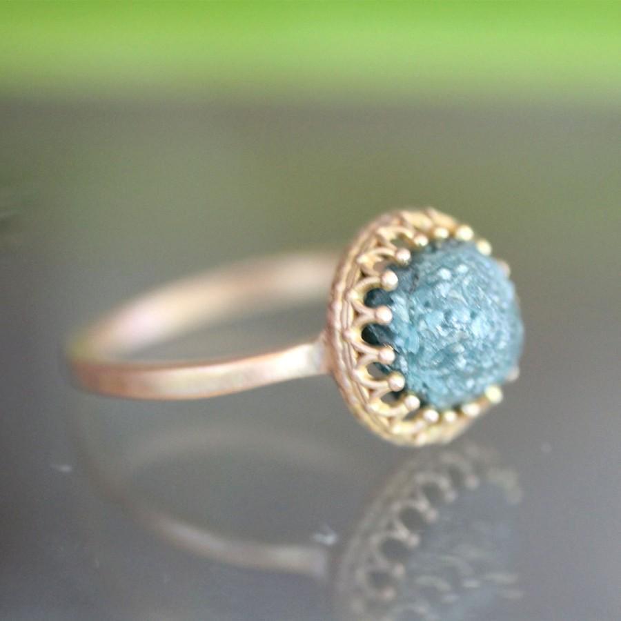 زفاف - Blue Rough Diamond Ring, 14K Rose Gold Engagement Ring, Raw Diamond, Gemstone Ring, Stacking Ring, Birth Stone - Ship In The Next 9 Days