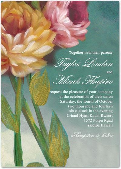 Wedding - BEAUTIFUL OIL PAINTING FLOWER WEDDING INVITATIONS HPI081