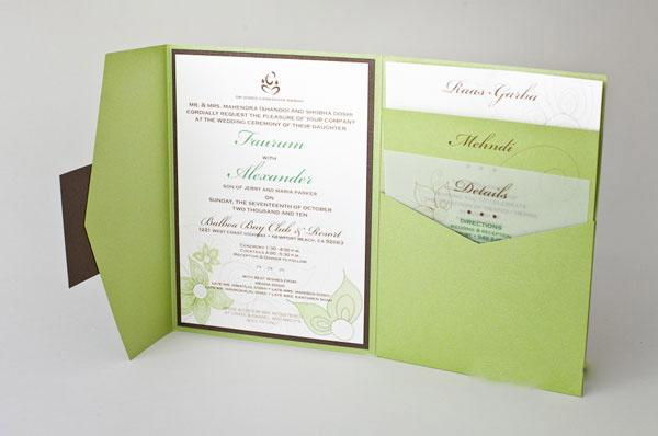 natural green color tri fold pocket invitations hpi268 2429521