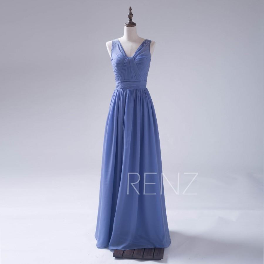 Steel blue evening dress