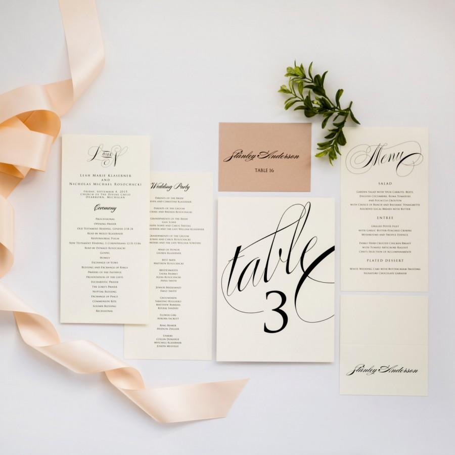 Свадьба - Wedding Programs and More LOVELY IN LUX Wedding Day Collection Programs, Placecards, Wedding Menus, Table Numbers, Signs, Thank You Cards