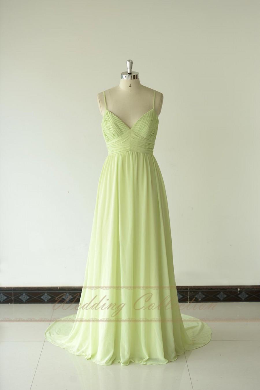 زفاف - Sage Bridesmaid Dress Long Chiffon Gown V neckline with Spaghetti Straps