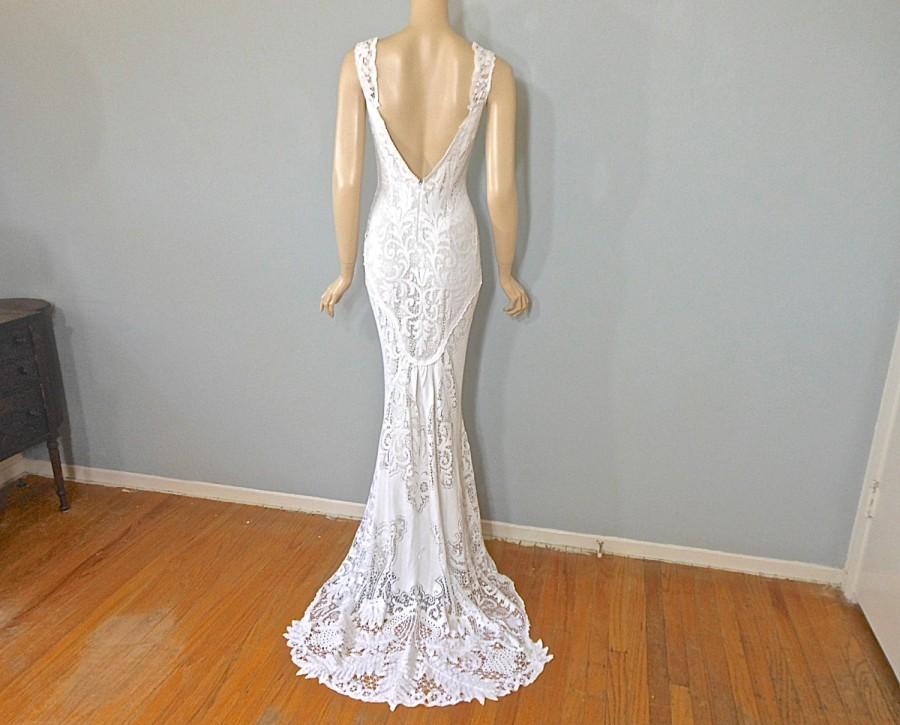 Crochet Lace Bohemian Wedding Dress MERMAID Wedding Dress VINTAGE ...