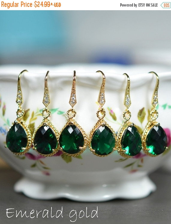 Wedding - 15%OFF Bridal Drop Earrings Wedding Dangle Earrings Bridal Jewelry  gold emerald peacock green Tear Drop Earrings Bridesmaid Gift ,peacock