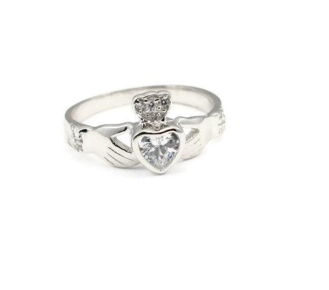 زفاف - Irish Claddagh Ring Solid 925 Sterling Silver Heart Shape Bezel Set Clear White CZ Crown Claddagh Promise Wedding Engagement Ring