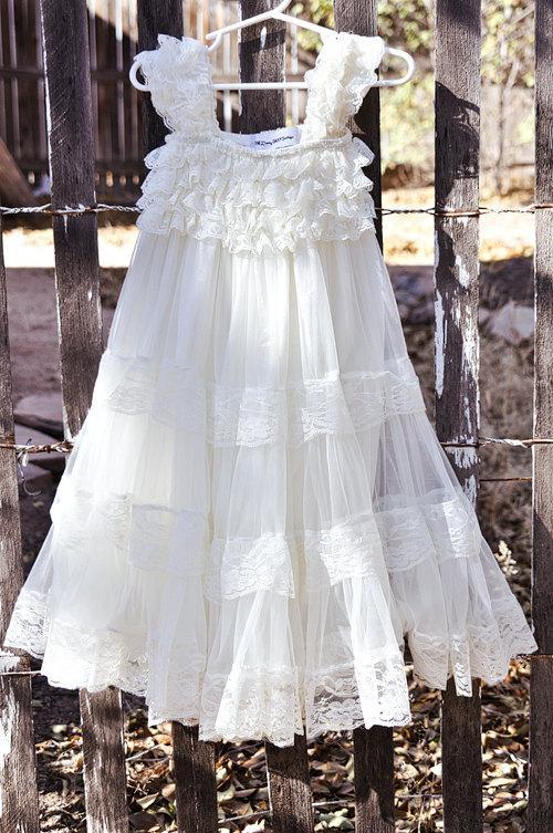 Wedding - Ivory Lace Flower Girl Dress -Ivory Shabby Chic Flower Girl Dress- Rustic Ivory Flower Girl Dress -Vintage Wedding-Christening Dress