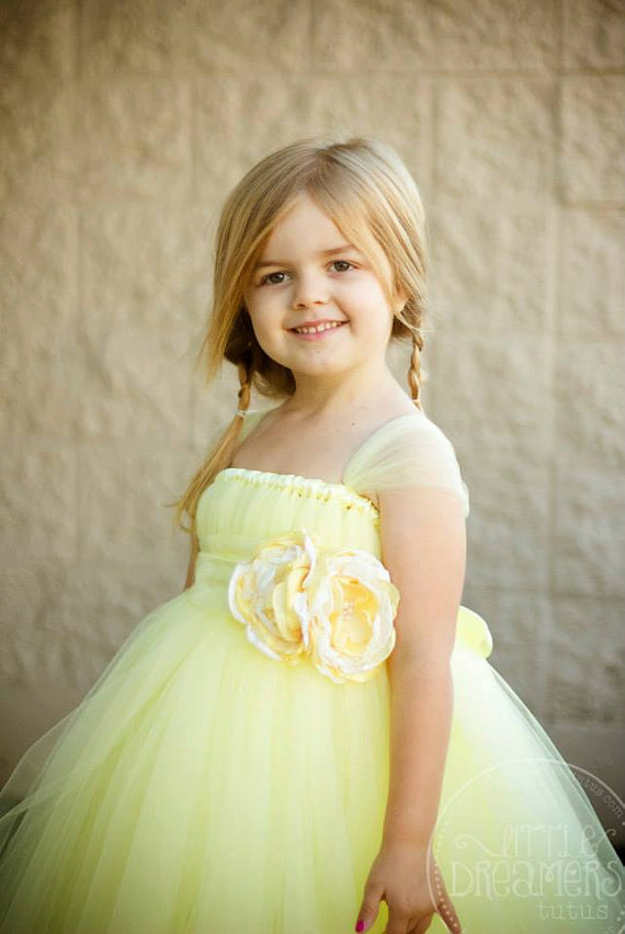 Flower girl yellow tutu dresses