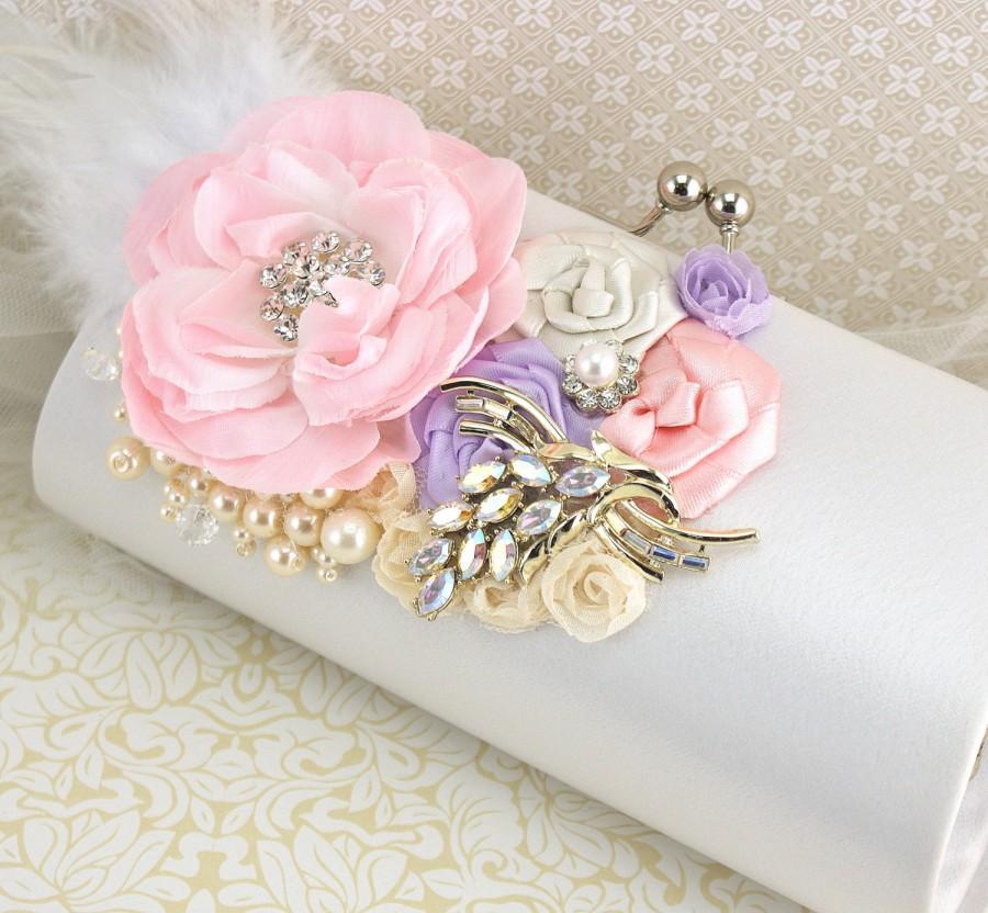 Mariage - Wedding Clutch, White, Pink, Lilac, Ivory, Handbag, Purse, Bridal, Maid of Honor, Feathers, Brooch, Pearls, Crystals, Vintage Wedding