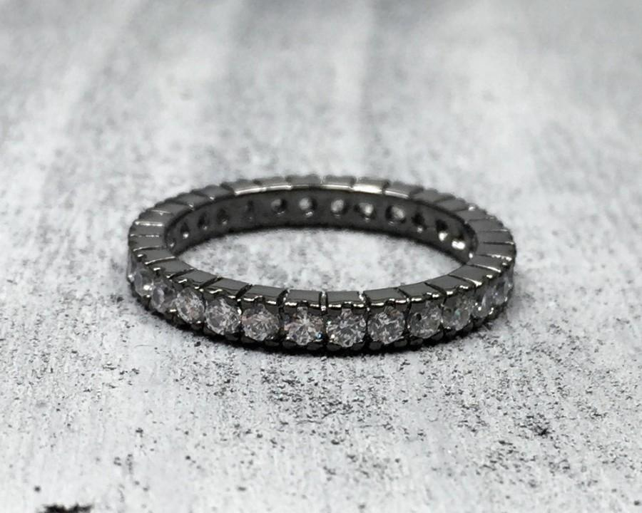 Sterling Silver Black Rhodium 3mm Round CZ Wedding Anniversary Band