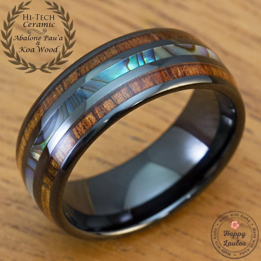 Mariage - Black Hi-Tech Ceramic Ring with Abalone Pau'a Shell and Hawaiian Koa wood Inlay (8mm Width, Barrel Shape Style, Comfort Fit)