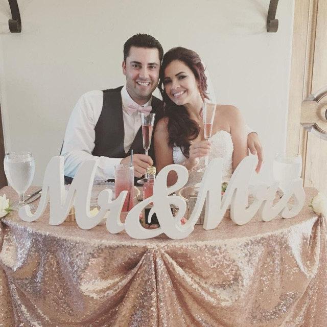 """زفاف - 8"""" Wooden Mr and Mrs Wedding sign, Gold and Silver Glitter, Wedding Decor, Wedding, Mr & Mrs"""