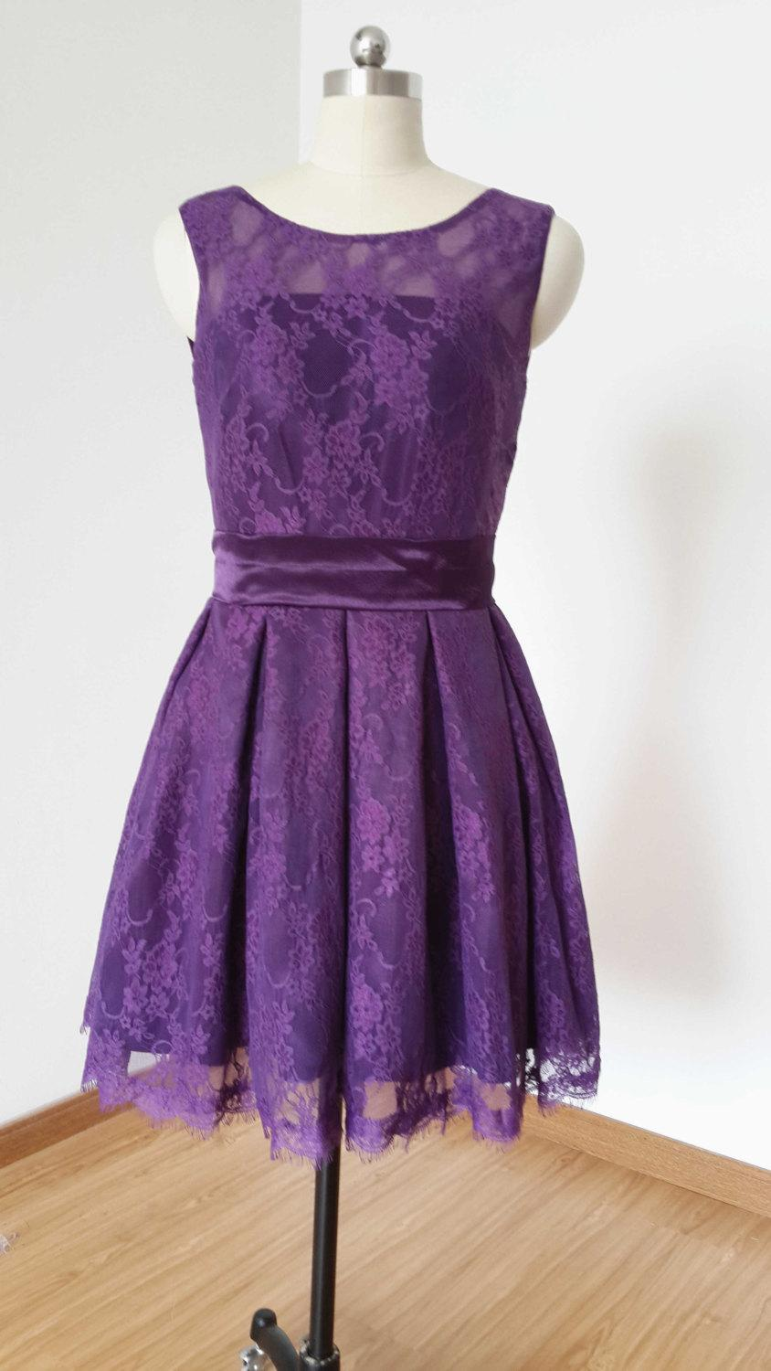 Boda - 2015 A-line Dark Purple Lace Short Bridesmaid Dress
